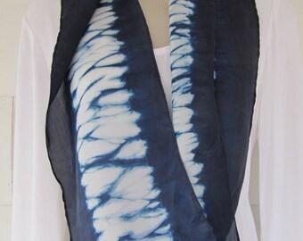 Hand-dyed habotai silk scarf, 8 x 52 inches, indigo, bomaki shibori