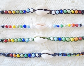 Set of 4 Summer sea shell friendship bracelet, Beach bracelet