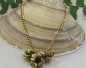 Gold Flowered Pendant Necklace, Flowered Pendant Jewelry, Mother's Day or Spring Flowered Pendant Jewelry