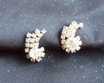 Rhinestone Earrings - Rhinestone Screw Back Earrings - Vintage Rhinestone Earrings