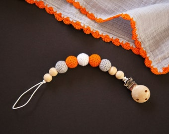Orange Crocheted Beads Pacifier Clip