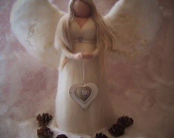 Needle felted angel-Tree topper Angel-Waldorf-GuardianAngel-MADE TO ORDER