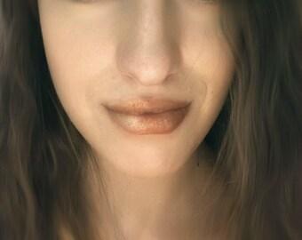 Liquid Gold Lip Gloss - Natural, Vegan - Copper Metallic Shimmer - Chocolate Scent - Moisturizing Oils