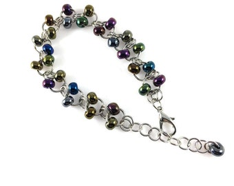 Beaded Chainmaille bracelet Metallic Seed Beeds Chain Maille Colorful