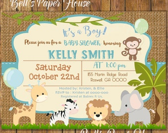 Digital File or Printed,Safari Baby Shower Invitation,Baby Boy Safari,Safari Invite,Burlap,Jungle Theme Baby Shower Invitation,Free Shipping