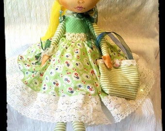 Art rag doll . Fabric doll Olivia . Perfect gift for her. Home decor doll
