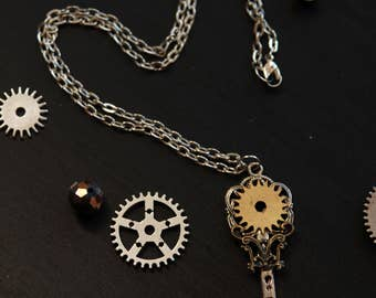 Steampunk Key Pendant Necklace Key Necklace Key Pendant Steampunk Victorian Chain Antique Charm Necklace