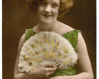 Vintage 1920s or early 30s postcard, birthday card, beaded dress, feathered fan, flapper style, real photograph, green, sepia, white, yellow