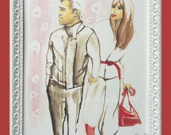 Watercolour Fashion Illustration - Love with Free Shipping Standard Delivery