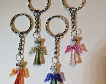 Crystal Guardian Angel Key Ring. First Communion, Confirmation or Christmas. Made in UK