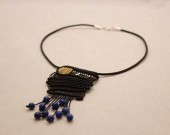 Macrame leather necklace, Boho macrame necklace, Macrame sodalite beads necklace, Black macrame necklace