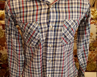 Men's Vintage Levi's Strauss Plaid Tapered Button Down Shirt, Size M
