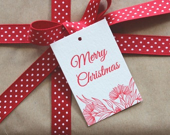 SALE to make way for new stock: 10 x Red Letterpress Merry Christmas Gift Tags