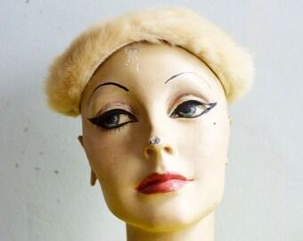 1940's Fur Trimmed Velvet Skull Cap by Evelyn Varon
