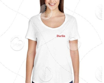 """Womens - Girls - Scoop Neck Premium Retail Fit """"Darlin"""" Fashion Tee, Country"""