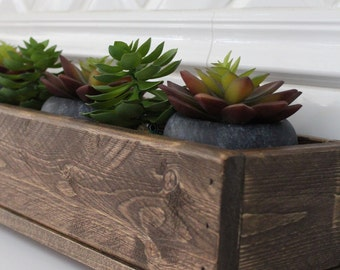 Warm Brown Rustic Wood Box, Centerpiece, Planter, Server, Storage Box, Rustic Home Decor, Planter Box