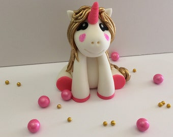 Gold Unicorn Fondant Cake Topper