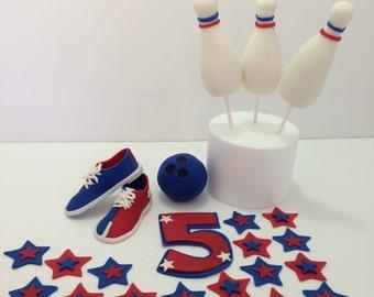 Bowling Fondant Cake Topper Set