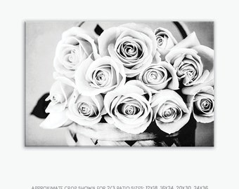 Canvas Wall Art Flowers, Shabby Chic Floral Wall Art, Rustic Bedroom Wall Decor, Rustic Canvas Wall Art, Black White Flower Wall Print, Rose