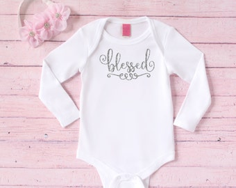 Baptism bodysuit -  Gift for baby dedication - Christening bodysuit  Blessed bodysuit - Catholic baby gift  Religious baby gift  Long sleeve