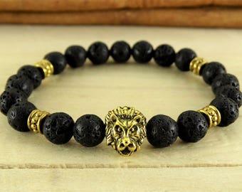 Lions, Lava bracelet, Gold lion jewelry, Lava bead bracelet, Mens bracelet, Husband gift, Gift for men, Lion head bracelet, Earth energy