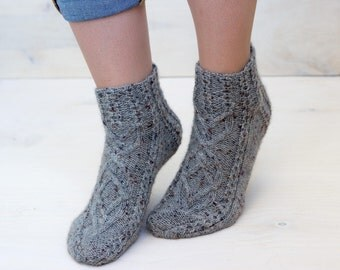 Gray cable socks Knitted cable socks Short socks Knitted slippers Winter socks Warm socks Casual handmade socks Idea for gift Sneakers socks