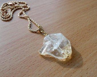 Citrine necklace pendant jewelry natural raw gold yellow citrine necklace crystal citrine yellow gemstone jewelry November birthstone gift