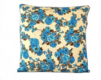 blue u0026 beige floral pillow cover blue floral cushion cover floral pillows decorative