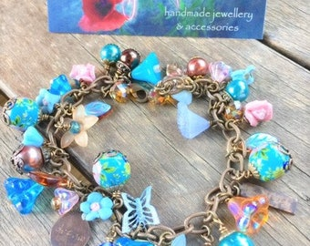 Floral - Decal - Charms - Bracelet - Affirmations - Turquoise