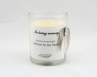 Memorial Gift, Sympathy Candle, Memorial Candle, Sympathy Gift, Memory Candle, Remembrance Gifts, Bereavement Gifts, Angel Wings, Grief Gift