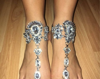 Barefoot Sandals Rhinestone Anklet