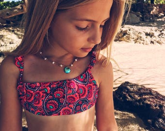 Moana Ocean Princess necklace for girls with blue green abalone paua shell - handmade in Hawaii