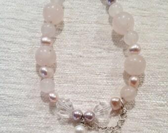 Rose Quartz and Pearls with Crystal Quartz Heart Pendant