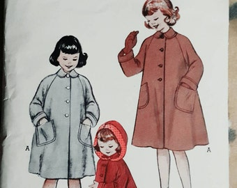 1954 Butterick 6696 Toddler Girl's Coat With Optional  Hood Size 2 Cut Apart/Unused Complete Sewing Pattern ReTrO Winter!