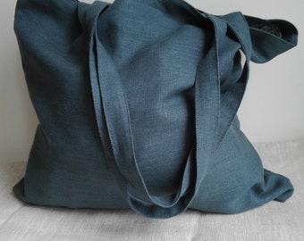Linen Tote Bag, Linen Shopping Bag, Linen Market Bag, Linen Beach Bag, Shoulder Bag, Tote Bag, Blue Green Tote Bag, Handmade Tote Bag