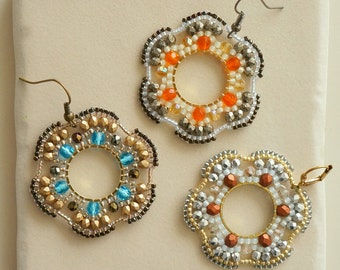 Filigree Flower Earrings / Circular Brickstitch Earrings / Beaded Earrings / Beading Tutorial / Beaded Earrings Pattern / Miguel Ases Style