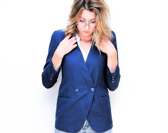 women's 80s blue blazer | fitted navy blazer | blue jacket | vintage sport coat | 1980's blazer | size small | size medium