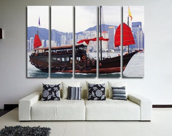 Large Wall Boat Color Hong Kong Multipanel Canvas Red Sail Canvas Art Large Sailboat 1-3-4-5 Panel City View Print
