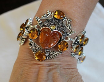 Carved Face Orange Quartz Bracelet with Citrine Gemstones!