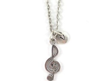 TREBLE CLEF charm necklace, silver musicians necklace, initial necklace, personalized necklace, initial jewelry, personalized jewelry, gift
