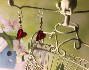Swarovski Red Heart Earrings