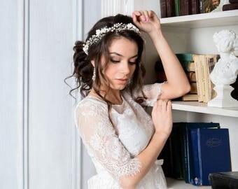 Pearl Wedding Hair Vine, Pearl Bridal Headpiece, Wedding hair piece, Wedding headpiece, Bridal Wreath, Flower Bridal Headpiece