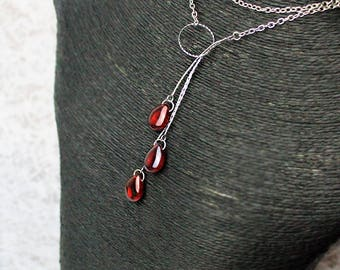 red necklace ruby jewelry ring necklace silver necklace long necklace romantic jewelry summer necklace open back anniversary gift wife Y16