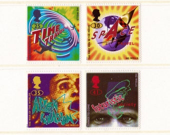 1995 Science Fiction Mint Unused Postage Stamps; psychedelic, space age, abstract, poster art, futuristic, time travel, War of the Worlds