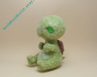 Needle felted  Baby Monster Turtle- Fantasy Creature-  Magical Pet- Ooak- Ready to Ship