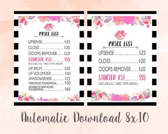 LipSense Price List - Watercolor Floral With Stripes