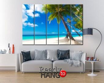 Palm tree on the beach, Tropical wall art, beach art, marine decor, Beach picture, Palm canvas,  beach, beach home decor, beach art