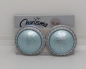 Vintage Charisma Blue Earrings, Teal Blue Earrings, 1980s Round Earrings, Statement Earrings, Retro Pierced Earrings, Pierced, New Old Stock