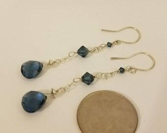 London Blue Topaz Earrings, Blue Earrings, London Blue Topaz, Blue Topaz, December Birthstone, Birthstone Earrings, Duster Earrings,Gemstone
