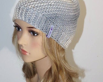 Beautiful silk cashmere hat with Fachetten beads